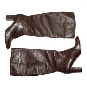 Banana Republic Brown Leather Boots Chunky Heel 8